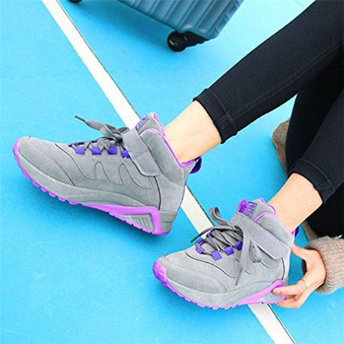 Fashion Grey Lace Platform Loafers GIY Shoes Toe Casual Sneakers Womens High Sport Up Sneaker Top Round fYxwSU5nq