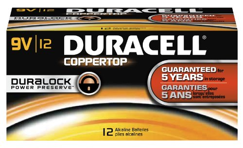 (Duracell - CopperTop 9V Alkaline Batteries - long lasting, all-purpose 9 Volt battery for household and business - Pack of 12)