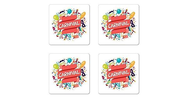 Posavasos para festivales, juego de cuatro diseños de carnaval ...