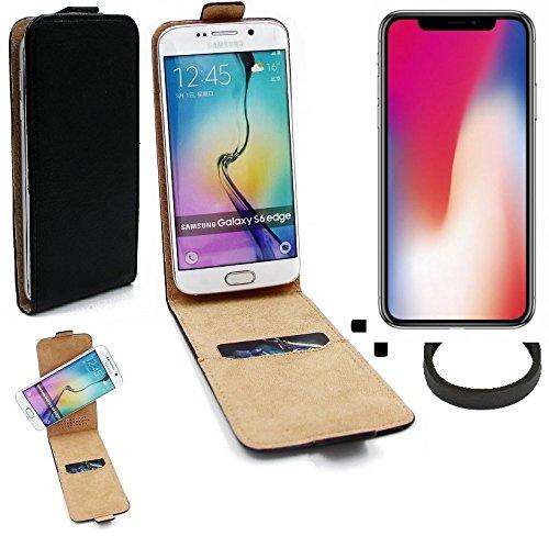 TOP SET: Case Smartphone Cover Flip Style pour Apple iPhone X 360°, noir + protection de anel, couvercle rabattable - K-S-Trade (TM)