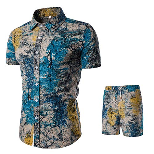 NIUQI Summer New Comfortable Fashion Short Sleeve and Short Pants Printing Men's Suit