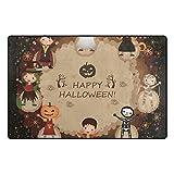 HEOEH Skeleton Pumpkin Witch Dance Doormats Area Rug Rugs Non-Slip Floor Mat Indoor Outdoor 60x39 inch
