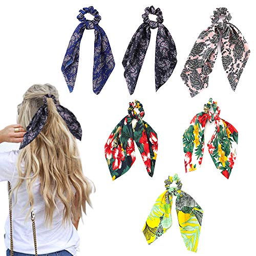 6Pcs Floral Print Hair Scrunchies Satin Elastic Hair Bands Hair Scarf Bohemian Style Ponytail Holder Ties Vintage Hair Accessories for Women Girls]()