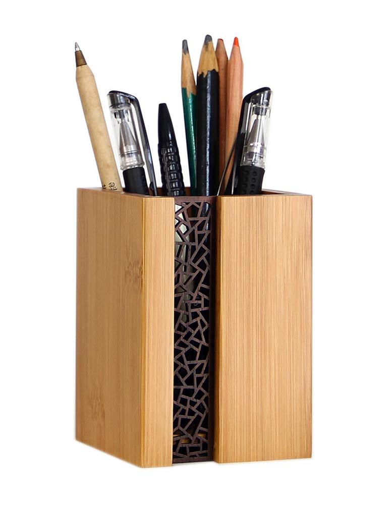 Bamboo Wood Desk Pen Pencil Holder Stand Multi Purpose Use Pencil Cup Pot Desk Organizer (Style 1)