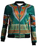 Cromoncent Womens Ethnic Full Zip Print Thin Dashiki Africa Jacket Outwear Green Large