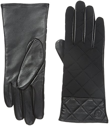 Adrienne Vittadini Women's Quilted Leather Cashmere Lined Gloves, Black, Small (Quilted Black Leather Gloves)
