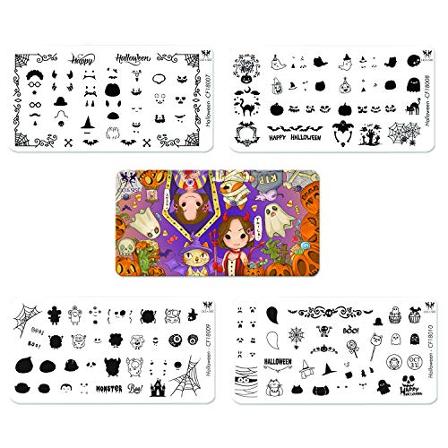 (CICI&SISI 2018 Halloween Theme Nail Art Stamping Plates Kit Holiday Stamp Plate Manicure Template 4)