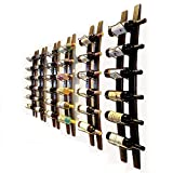 DCIGNA Wall Mounted Wine Rack Wooden, Barrel Stave Wine Rack, Wooden Wine Bottle Holder Rack, Imported Pine Wood and Metal - 6 Bottles 40x7.6inch (Red Wine Color)