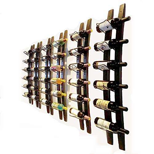 - DCIGNA Wall Mounted Wine Rack Wooden, Barrel Stave Wine Rack, Wooden Wine Bottle Holder Rack, Imported Pine Wood and Metal - 6 Bottles 40x7.6inch (Red Wine Color)