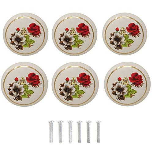 (yueton 6Pcs 1-1/2 inch Hand Painted Ceramic Knobs Kitchen Cabinet Retro Vintage Door Drawer Handles Pulls for Dresser Cupboard Wardrobe (Red Rose) )