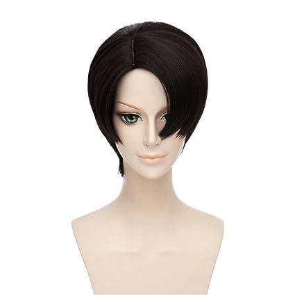LanTing Cosplay Peluca 30cm Short Black Wigs Heat Resistant ...