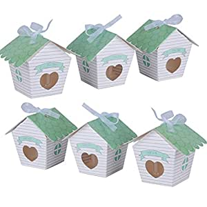 50 pcs Cajas Papel de Caramelo Dulces de Boda para Bombones Regalos Recuerdos Detalles de Boda Fiesta Bautizo Cumpleaños Graduación para Invitados en Diseño de Casita con 50 piezas Cintas