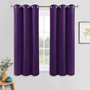 PONY DANCE Blackout Curtains for Kitchen - Home Decor Light Blocking Grommet Windows Curtain Panels Thermal Insulated Window Drapes for Hotel Bedroom, 42 x 45 Inches, Royal Purple, Double Pieces