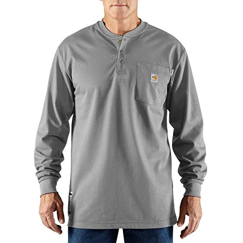 Carhartt Flame Resistant L/S Henley Shirts, Light Gray, Large Tall