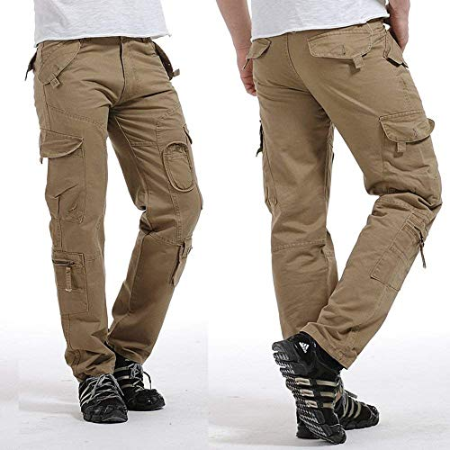 wholesale dealer b8d89 f49f7 Basicas Color Hombres Button Pantalones Muchos Chándal Largos Sólido Khaki  Con Off Para Bolsillos Carga De vwxnA1Yx