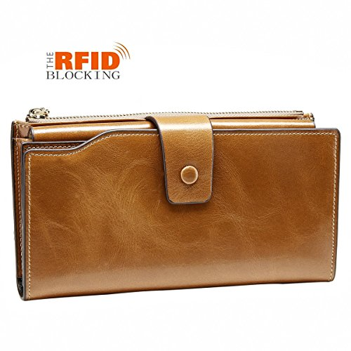 JSLOVE Women's RFID Blocking Large Capacity Leather Clutch Wallet With Zipper Pocket (apricot)