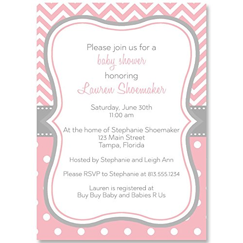Polka Dots Baby Shower Invitations - Baby Shower Invitations, Baby Girl, Chevron Stripes, Polka Dots, Pink, Gray, Grey, Sprinkle, Personalized, Customized, Set of 10 Printed Invites and Envelopes, Chevron Stripes & Dots