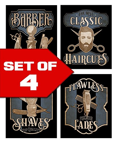 Wallables Barbershop Skills Vintage Barbershop Theme! Four Stylish 8x10 Mens Wall Decor Art Prints Set Great for Bathroom, Barbershop, Bachelor Pad Designed Exclusively for (Mens Bathroom Wall Pictures)