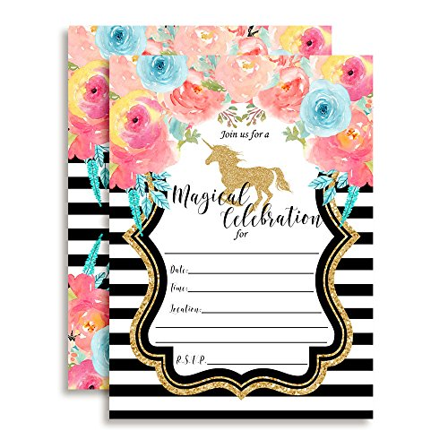Watercolor Floral Unicorn with Gold Glitter Birthday Party Invitations for Girls, 20 5