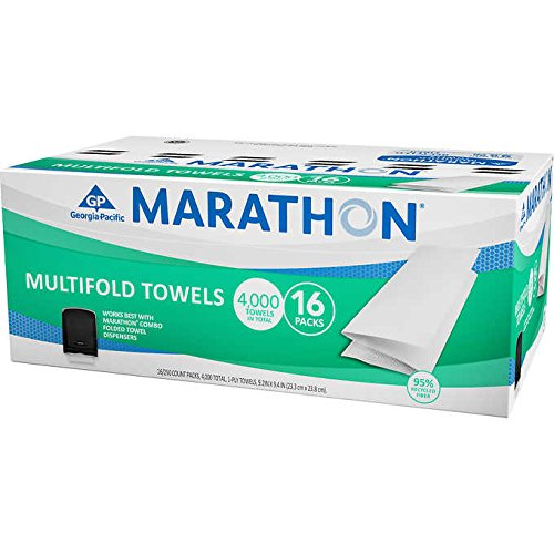 Marathon Multifold 1-Ply White Household Paper Towels: 16 Packs (4000 Count) ()