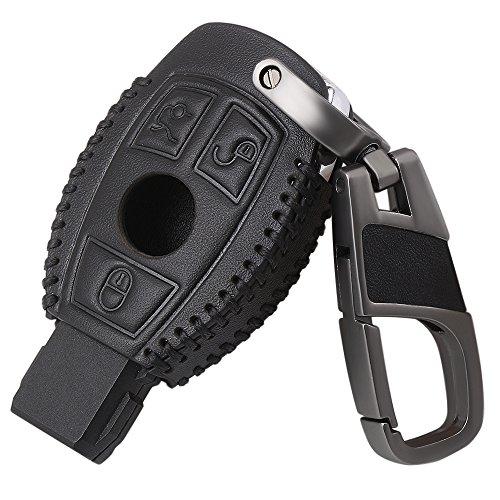 Smart 3button Leather Key Cover Bag Fob Shell Car Key Cases For Mercedes Benz W203 W205 W210 W211 W212 W124 Accessories Black