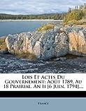 Lois et Actes du Gouvernement, , 1271042894