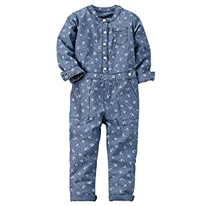 Carter's Girl's Blue Floral Print Chambray Jumpsuit