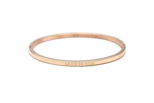"""Oh My Shop BC1666F- Bracciale rigido in acciaio e oro rosa, con scritta """"La Vie en Rose"""""""