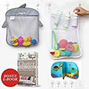 Bath Toy Organizer Jojo Kids Keep Toys Dry Without Mold | Superior Quality Toy Storage | Set of 2 Large Size and Quick Dry Bath Tub Toy Holder Inspired by Kids | Included 4 Strong Suction Cups and 2 Hooks
