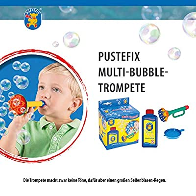 PUSTEFIX Multi Bubble Trumpet Blowing Toy for Kids Set includes Trumpet Blower, 8.45 oz Bubbles Bottle and Liquid Tray: Toys & Games
