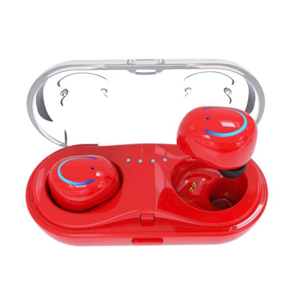 TX ワイヤレス Bluetooth イヤホン インビジブル ミニ ヘッドホン イヤホン コードレス スポーツ ヘッドセット 充電ケース iOS パワーディスプレイ  レッド B07QLRCDGP