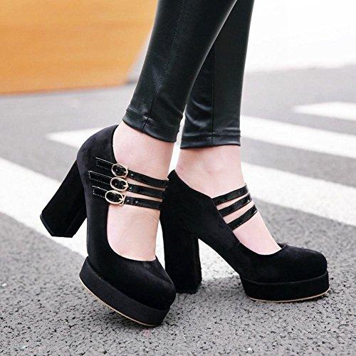 YE Damen Mary Janes Pumps Chunky Heels Lack High Heels Plateau mit Schnalle Bequem Elegant Kleid Schuhe