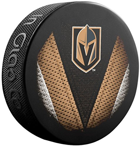 fan products of Sher-wood Stitch Logo Souvenir Hockey Puck - Vegas Golden Knights