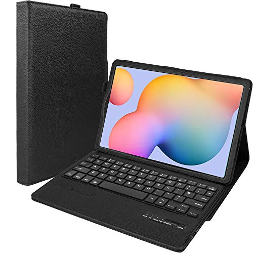 TECHGEAR Keyboard Case for Samsung Galaxy Tab S6 Lite 10.4″ (SM-P610 / SM-P615) [Strike Folio] PU Leather Case with Built in Detachable Bluetooth Wireless UK QWERTY Keyboard and Stand (Black)