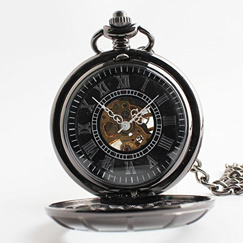 TODDCAHALAN Vintage Antiqued Stainless Steel Case Skeleton Mechanical Pocket Watch with Chain F105