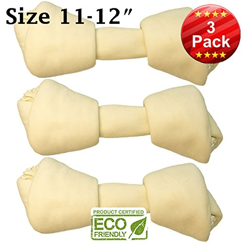 "11""-12"" Premium Knot Bones - 3 Pack – HUGE Chewing Dog Treat Made With The Best Rawhide, 100% Natural - No Additives, Chemicals or Hormones – Natural Grass Fed livestock from South America"