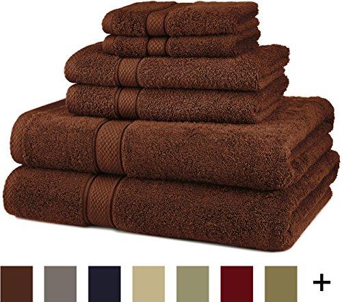 Pinzon Blended Egyptian Cotton 6-Piece Towel Set, Cocoa