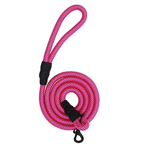 Gefry 5 or 6 Feet Long Braided Nylon Rope Sturdy & Durable Thick Training Dog Cat Leash (Lth:6', Diam:1.0cm, Pink+Blue)
