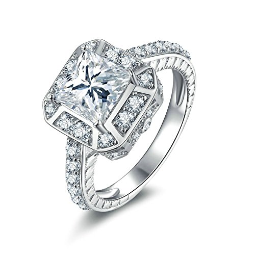 Aokarry Ladies Jewelry 925 Sterling Silver Promise Rings Princess & Round White Cubic Zirconia Size 7.5