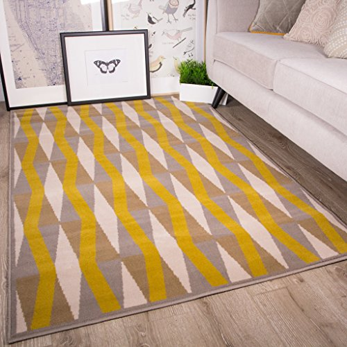 Woven Rug Mustard (Milan Ochre Mustard Yellow Gray Beige Diamond Tile Geometric Traditional Living Room Rug 5'3
