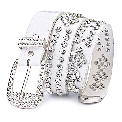 (Ayli Women's Sparkling Rhinestone Bling Western Cowgirl Leather Jean Belt, Free Gift Box, White, Fits Waist 28