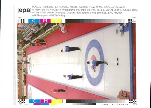 Vintage photo of Curling game switzerland 1992 Winter Olympics.