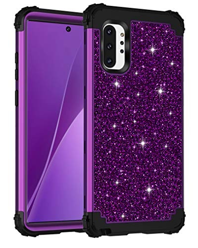 Lontect for Galaxy Note 10 Plus Case Luxury Glitter Sparkle Bling Heavy Duty Hybrid Sturdy Armor High Impact Shockproof Protective Cover Case for Samsung Galaxy Note 10 Plus/5G, Shiny Purple/Black