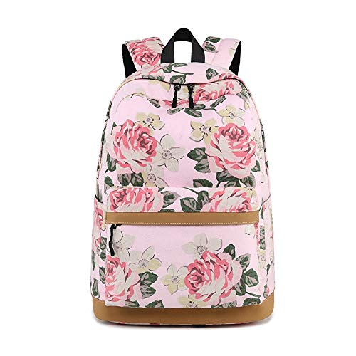 Bosji Tiktok Trendy Canvas Stripe Casual Backpack Waterproof(17 Inch) Laptop Daypack Durable Outdoor Travel School Bag with USB Charging Function (Pink)