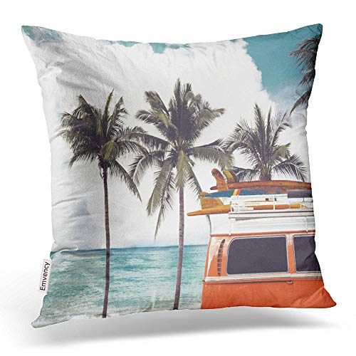 Emvency Throw Pillow Covers Vintage Car Parked On The Tropical Beach Seaside A Surfboard Decor Pillowcases Polyester 16 X 16 Inch Square Hidden Zipper Home Cushion Decorative - Tropical Surfboard