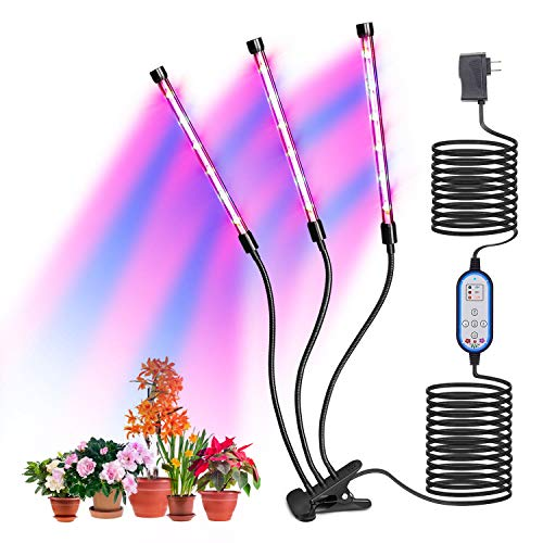 Plants Growing Lamp, Indoor Plant Growth Light 10 Dimmable Levels, 4/8/12 H Timer Auto ON & Off 36W 18LED Bulbs with Red Blue Spectrum,Hydroponics Growth Light for Seedling,Vegetative&Flowering. (Best Spectrum For Vegetative Growth)