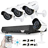 Cheap Video Surveillance System 720P 4CH Security DVR System (No Hard Drive) with 4 1.5MP Security Cameras Weatherproof CCTV Cameras Security Video System