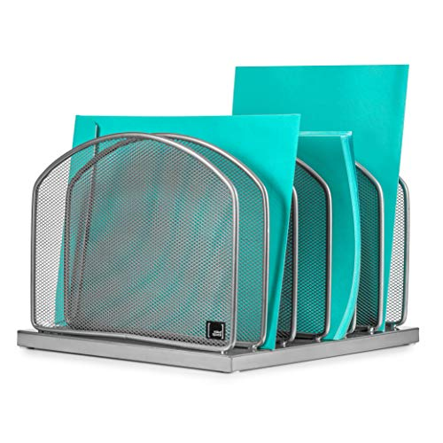 Desktop File Organizer Sorter by Mindspace with 6 Vertical Compartments, Mesh File Office Organizer | Paper Work Divider | The Mesh Collection, -