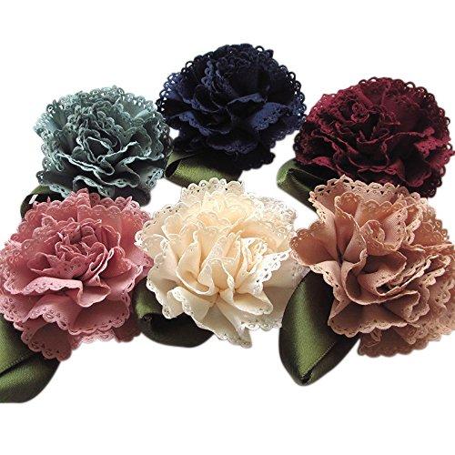 18pcs Fabric Ribbon Flowers Bows Appliques Craft Wedding Dec Bulk A0444 (Fabric Ribbon)