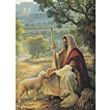 Jesus Christ Shepherd Full Drill Diamond Painting by Number Kits, 5D DIY Diamond Embroidery Crystal Rhinestone Cross Stitch Mosaic Paintings Arts Craft for Home Wall Decor(12X16inch/30X40CM)